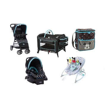 Disney Mickey Shadow Baby Gear Bundle,Travel System,Play Yard,Bouncer & Diaper Bag