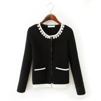 Pearl Beaded Long-Sleeve Button Sweater