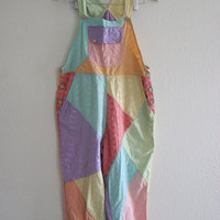 90s rainbow pastel patchwork over size overalls hippie boho cute