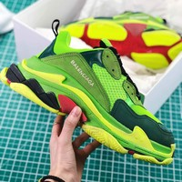 Balenciaga Triple S Trainers Sneaker Green Oversized Multimaterial Sneakers With Quilted Effect - Sale