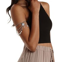Silver Dangling Diamond Beaded Arm Cuff by Charlotte Russe