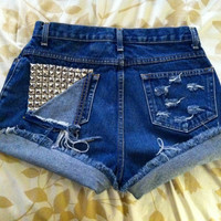 High or mid rise distressed studded jean shorts