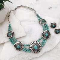 Silver Tone Concho Turquoise Western Necklace Set
