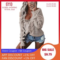 LASPERAL Winter Sexy Deep V-Neck Twist Knitted Sweaters Women Long Sleeve Off Shoulder Sweater Femme 2018 Autumn Outwear Sweater