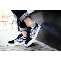 Vans Old Skool White Black Flower Low Top Men Flats Shoes Canvas Sneakers Women Sport Shoes