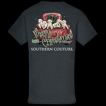 Southern Couture Classic Merry Christmas Pups Holiday T-Shirt