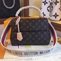 LV Louis Vuitton fashion ladies printed letter canvas shoulder strap diagonal bag shoulder bag Coffee