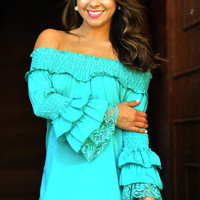 It's A Fiesta Top: Bright Teal | Hope's