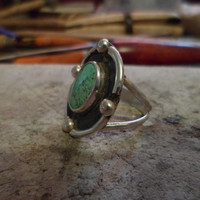 Authentic Navajo,Native American,Southwestern sterling silver turquoise ring.size 10.Can be adjusted.