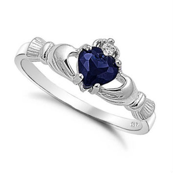 Sterling Silver Blue Sapphire CZ Claddagh Ring Size 3-12