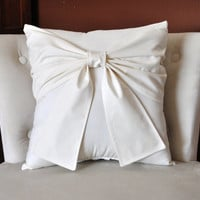 Cream Bow Pillow Decorative Pillow 25 OFF CLEARANCE by bedbuggs
