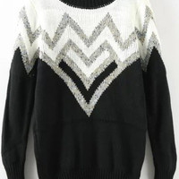 Black White Zigzag Print Knit Long Sleeve Sweater