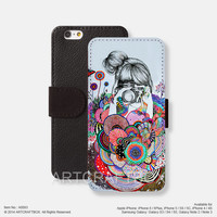 Shoting girl Floral pattern iPhone Samsung Galaxy leather wallet case cover 093