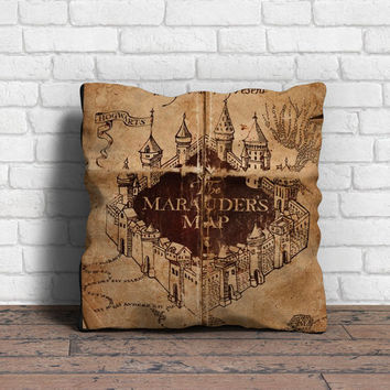 Marauder's Map Inspired Throw Pillow // Harry Potter
