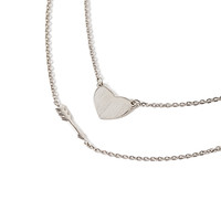 Heart and Arrow Necklace Set