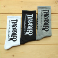 """""""Thrasher"""" skateboard hip-hop cotton stockings A set for THREE pairs"""