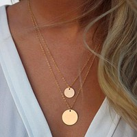 SALE  14K Yellow Gold Two Layer Circle Pendant Necklace