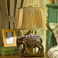 KLM Vintage Elephant Table Lamp, One Light, Resin and Fabric (CTLT8058) , 100-120V