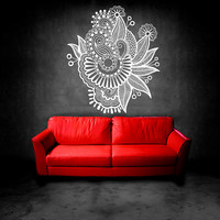 Wall Decal Vinyl Sticker Decals Art Decor Design Floral Ornament Indidan Geometric Moroccan Pattern Damask Style Dorm Modern Bedroom (r585)
