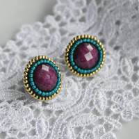 Stud Earrings Purple Green Gold Emerald Resin Cabochon Flatback Small Cute Birthday For her Teens Sympathy