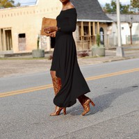 Black Irregular Off Shoulder High-Low Flowy Elegant Party Maxi Dress