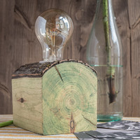 Wood Lamp in green shade with tree bark