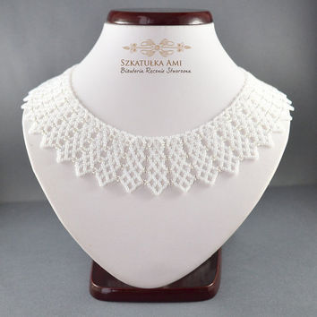 Beaded Necklace - Seed Bead Jewelry - White Beadwork Necklace - Netting Jewelry - Netted Collar - Beaded Choker