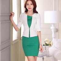 Formal Ladies Dress Suits for Women Business Suits Female Dress and Jacket Sets White Fashion Office Uniform Style