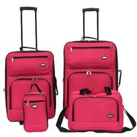 Hercules Jetlite 4-pc. Pink Upright Luggage Set One Size Watermelon pink