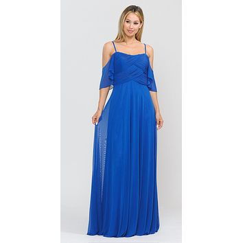 CLEARANCE - A-Line Cold-Shoulder Long Formal Dress Royal Blue (Size Small)