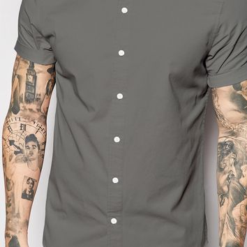 ASOS Twill Shirt In Short Sleeve With Grandad Collar