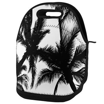 Black And White Palm Tree Silhouette Lunch Tote Bag