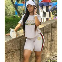 GUCCI Hot Sale Woman Print Short Sleeve Shorts Set Two Piece Sportswear