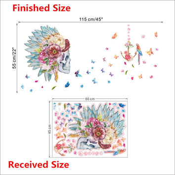 Fashion Skull flower head feather Butterfly Parrot Birds home decor living room Bedroom wall art decal wall sticker Feather SM6
