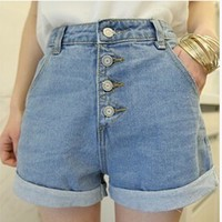 Vintage Summer Korea Style Jeans Hot Shorts For Women Plus Size High Waisted Denim Shorts Wide Leg Button Hotpants Corto XL