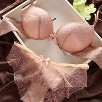 Sexy Underwear Women Bra Set Lingerie Set Luxurious Vintage Lace Embroidery Push Up Bra And Panty Set Pink