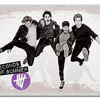 5Sos 5 Seconds Of Summer Jumping Poster Silver Framed & Satin Matt Laminated - 96.5 x 66 cms (Approx 38 x 26 inches)