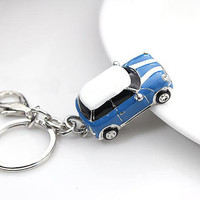 mini cooper car,drop of oil plus diamond luxury car keychain, silver keychain,perfect gift for you or friends