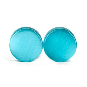 Cat Eye Gemstone Double Flared Ear Plugs Gauges Tunnels Expansion Piercing Body Jewelry