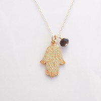 Gold Hamsa Necklace with Tiger Eye