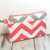 Coral Clutch - Coral Chevron Clutch - Clutch - Clutch Bag - Coral and Gray - Chevron Clutch - Zipper Clutch - Clutch Wallet - Clutch Purse