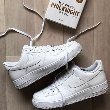 Hipgirls Nike Air Force 1 Hot Sale Couple Pure White Sneakers Shoes
