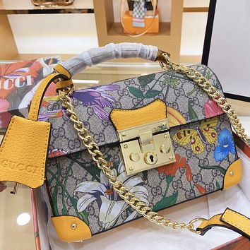 GUCCI  New fashion floral more letter chain high quality shoulder bag handbag crossbody bag