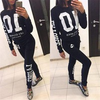 ESB8H2 2018 Autumn Winter Fashion 2 Piece Set Tracksuit For Women Pant And Sweatsuits 10 Printed Women's Suits Clothing