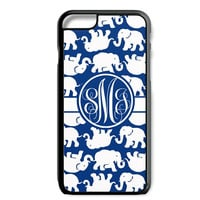 Navy Elephants Monogram iPhone Galaxy Custom Case Cover  5S 5C 6/6S