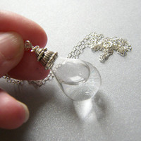 Glass Teardrop Necklace Water Filled Hollow by WishesontheWind