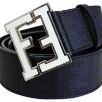 authentic FENDI belt Navy Dark Blue with White Buckle