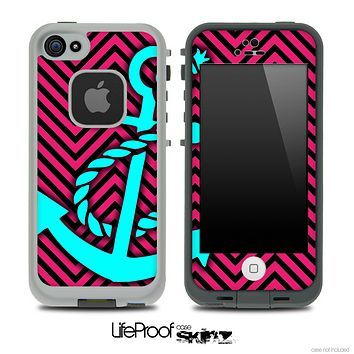 Pink/Black V2 Colored Chevron and Turquoise Anchor Skin for the iPhone 5 or 4/4s LifeProof Case