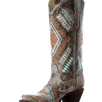 Corral Black-Bone Multi Color Diamond Embroidered Boots