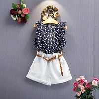 Baby Girl Clothes Sets Floral Sleeveless T-shirt + Shorts Suit With Belt Newborn Baby Girl Clothes